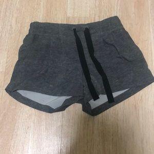 Lululemon gray shorts with black jawstring.